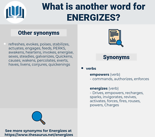 energizes, synonym energizes, another word for energizes, words like energizes, thesaurus energizes