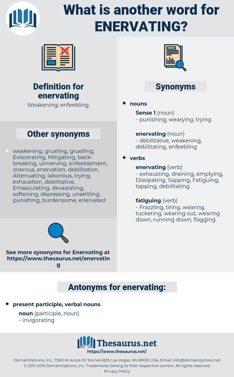 enervating, synonym enervating, another word for enervating, words like enervating, thesaurus enervating
