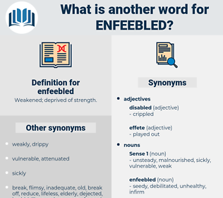 enfeebled, synonym enfeebled, another word for enfeebled, words like enfeebled, thesaurus enfeebled