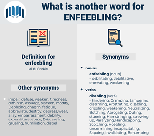 enfeebling, synonym enfeebling, another word for enfeebling, words like enfeebling, thesaurus enfeebling