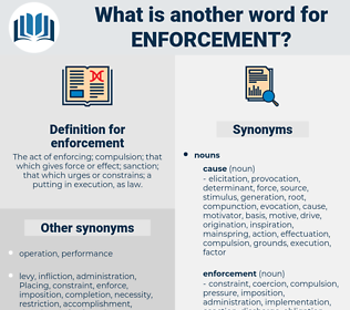 enforcement, synonym enforcement, another word for enforcement, words like enforcement, thesaurus enforcement
