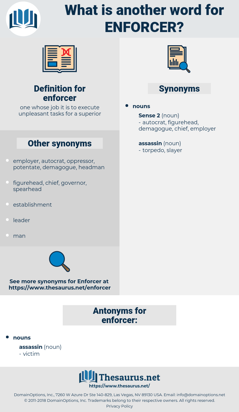 Synonyms For Enforcer Antonyms For Enforcer Thesaurus Net