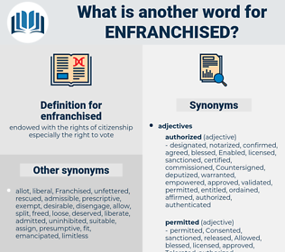 enfranchised, synonym enfranchised, another word for enfranchised, words like enfranchised, thesaurus enfranchised