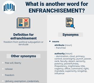 enfranchisement, synonym enfranchisement, another word for enfranchisement, words like enfranchisement, thesaurus enfranchisement