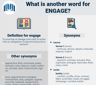 engage, synonym engage, another word for engage, words like engage, thesaurus engage