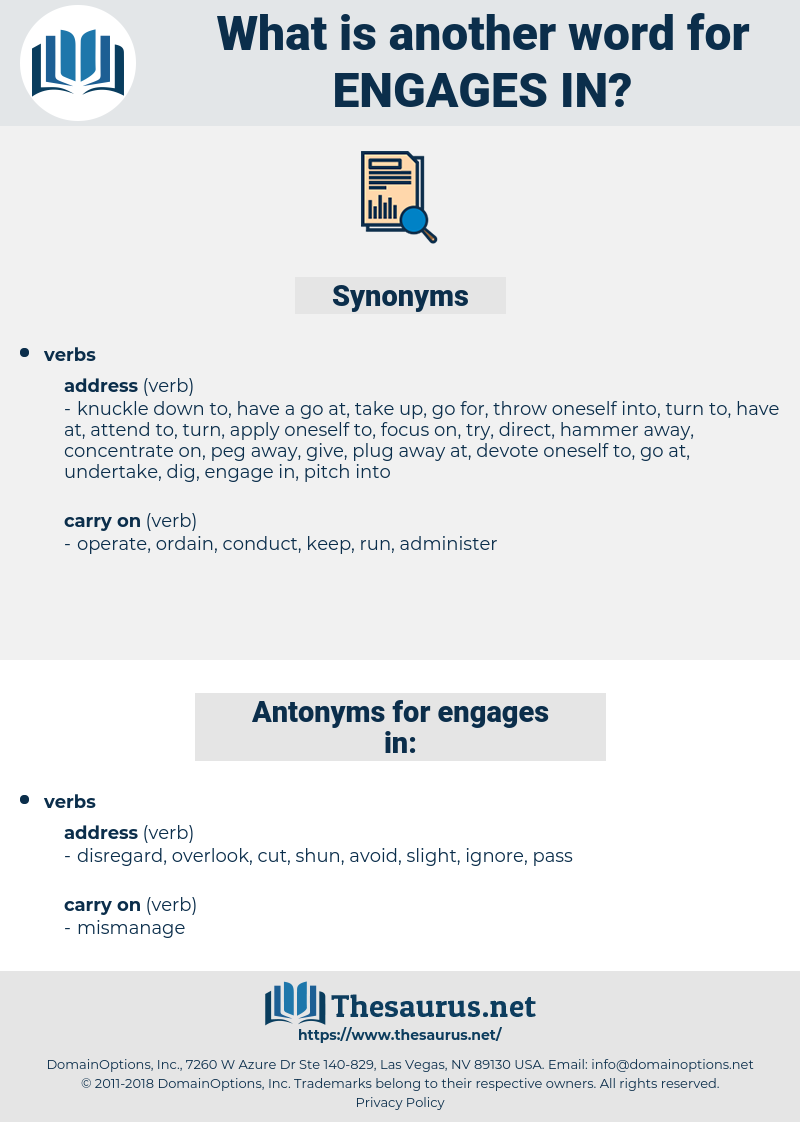 engages in, synonym engages in, another word for engages in, words like engages in, thesaurus engages in