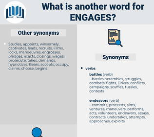 engages, synonym engages, another word for engages, words like engages, thesaurus engages