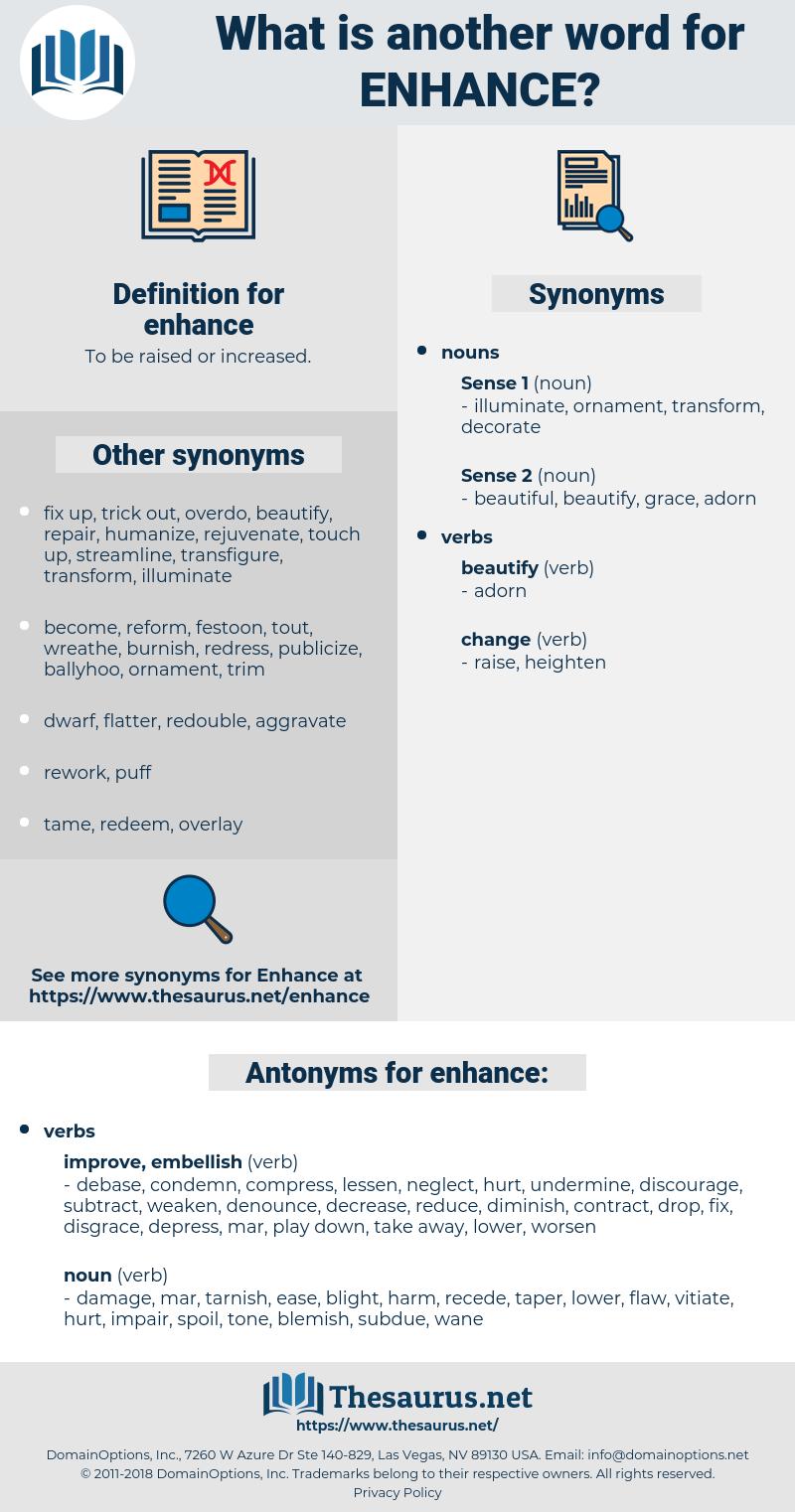 enhance, synonym enhance, another word for enhance, words like enhance, thesaurus enhance