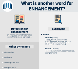 enhancement, synonym enhancement, another word for enhancement, words like enhancement, thesaurus enhancement