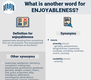 enjoyableness, synonym enjoyableness, another word for enjoyableness, words like enjoyableness, thesaurus enjoyableness