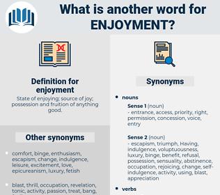 enjoyment, synonym enjoyment, another word for enjoyment, words like enjoyment, thesaurus enjoyment