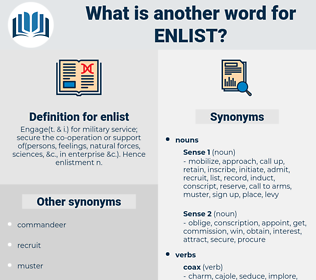 enlist, synonym enlist, another word for enlist, words like enlist, thesaurus enlist