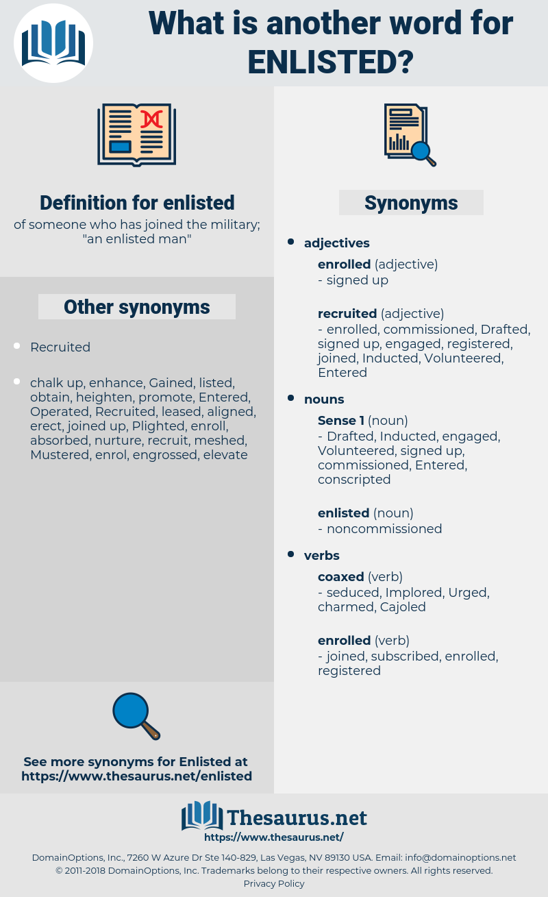 enlisted, synonym enlisted, another word for enlisted, words like enlisted, thesaurus enlisted