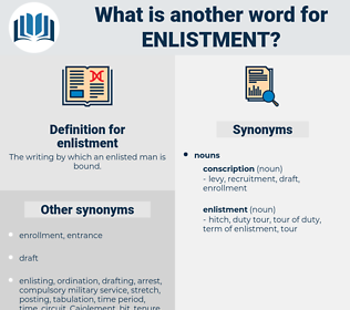 enlistment, synonym enlistment, another word for enlistment, words like enlistment, thesaurus enlistment