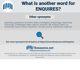 enquires, synonym enquires, another word for enquires, words like enquires, thesaurus enquires