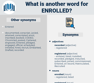 enrolled, synonym enrolled, another word for enrolled, words like enrolled, thesaurus enrolled