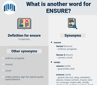 ensure, synonym ensure, another word for ensure, words like ensure, thesaurus ensure