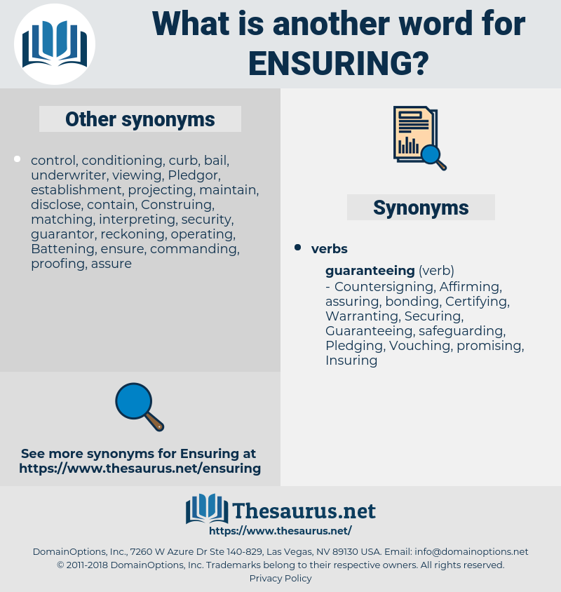 ensuring, synonym ensuring, another word for ensuring, words like ensuring, thesaurus ensuring