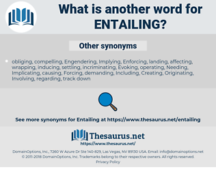 Entailing, synonym Entailing, another word for Entailing, words like Entailing, thesaurus Entailing