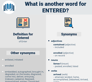 Entered, synonym Entered, another word for Entered, words like Entered, thesaurus Entered