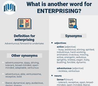 enterprising, synonym enterprising, another word for enterprising, words like enterprising, thesaurus enterprising