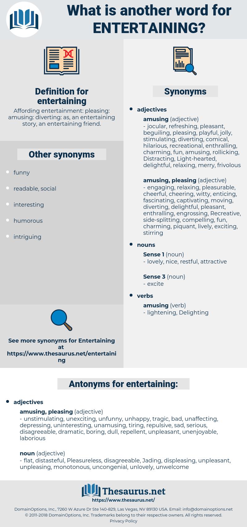entertaining, synonym entertaining, another word for entertaining, words like entertaining, thesaurus entertaining