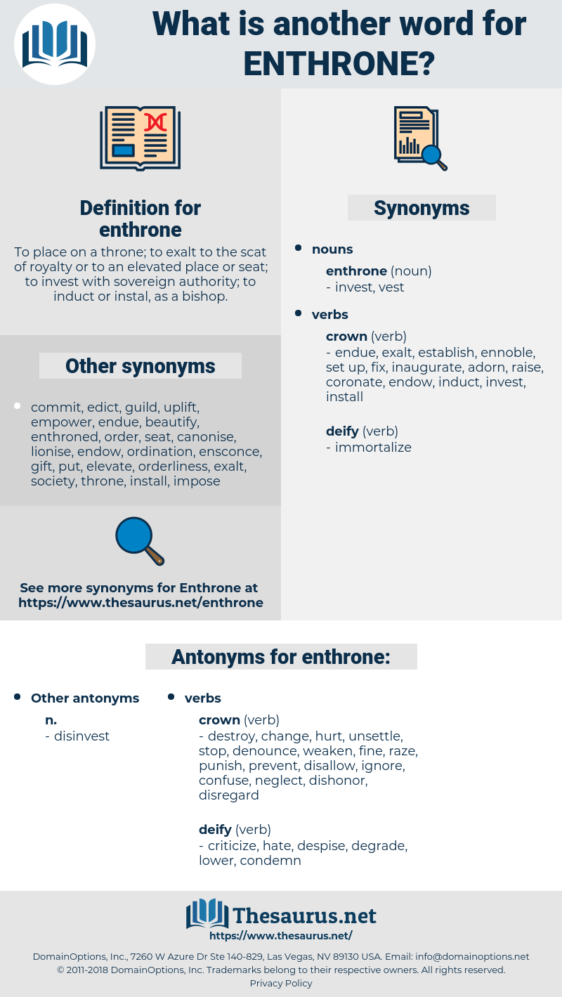 enthrone, synonym enthrone, another word for enthrone, words like enthrone, thesaurus enthrone