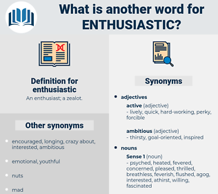enthusiastic, synonym enthusiastic, another word for enthusiastic, words like enthusiastic, thesaurus enthusiastic