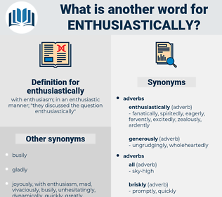 enthusiastically, synonym enthusiastically, another word for enthusiastically, words like enthusiastically, thesaurus enthusiastically
