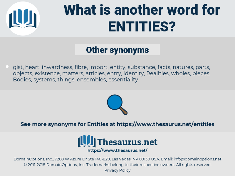 Entities, synonym Entities, another word for Entities, words like Entities, thesaurus Entities