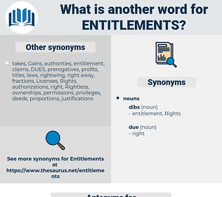 entitlements, synonym entitlements, another word for entitlements, words like entitlements, thesaurus entitlements