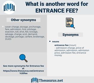 entrance fee, synonym entrance fee, another word for entrance fee, words like entrance fee, thesaurus entrance fee