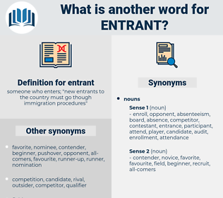 entrant, synonym entrant, another word for entrant, words like entrant, thesaurus entrant