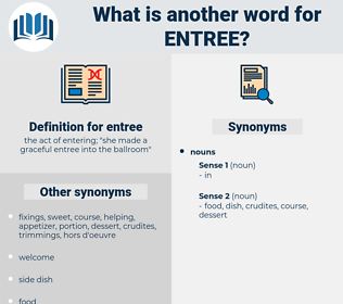 entree, synonym entree, another word for entree, words like entree, thesaurus entree