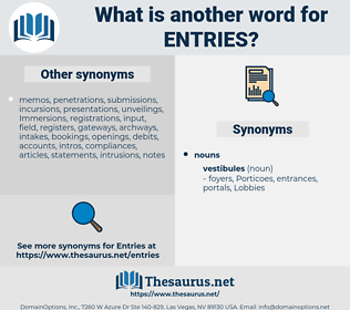 Entries, synonym Entries, another word for Entries, words like Entries, thesaurus Entries