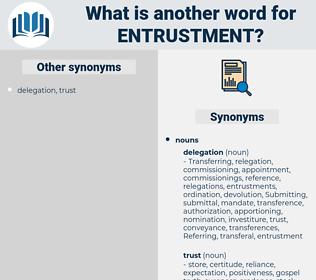 entrustment, synonym entrustment, another word for entrustment, words like entrustment, thesaurus entrustment