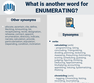 Enumerating, synonym Enumerating, another word for Enumerating, words like Enumerating, thesaurus Enumerating