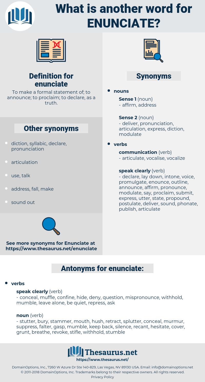 enunciate, synonym enunciate, another word for enunciate, words like enunciate, thesaurus enunciate