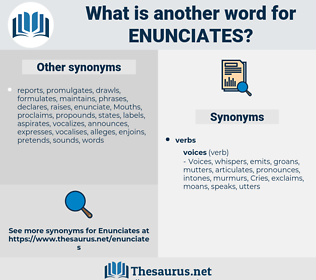 enunciates, synonym enunciates, another word for enunciates, words like enunciates, thesaurus enunciates