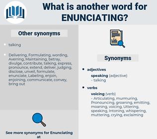 Enunciating, synonym Enunciating, another word for Enunciating, words like Enunciating, thesaurus Enunciating