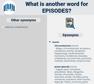 episodes, synonym episodes, another word for episodes, words like episodes, thesaurus episodes