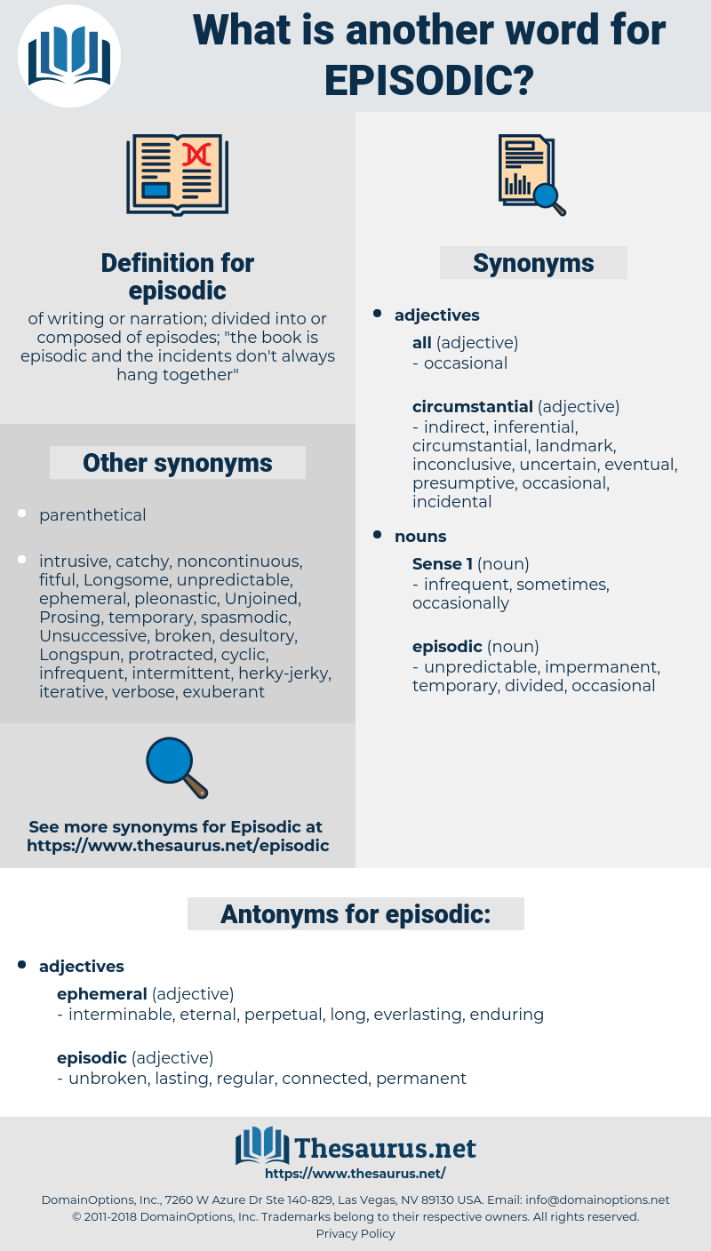 episodic, synonym episodic, another word for episodic, words like episodic, thesaurus episodic