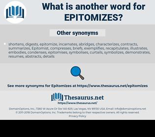 epitomizes, synonym epitomizes, another word for epitomizes, words like epitomizes, thesaurus epitomizes