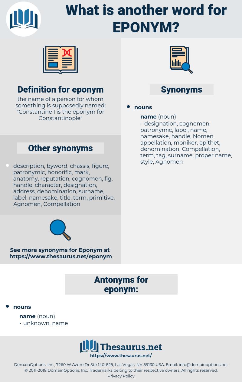 eponym, synonym eponym, another word for eponym, words like eponym, thesaurus eponym