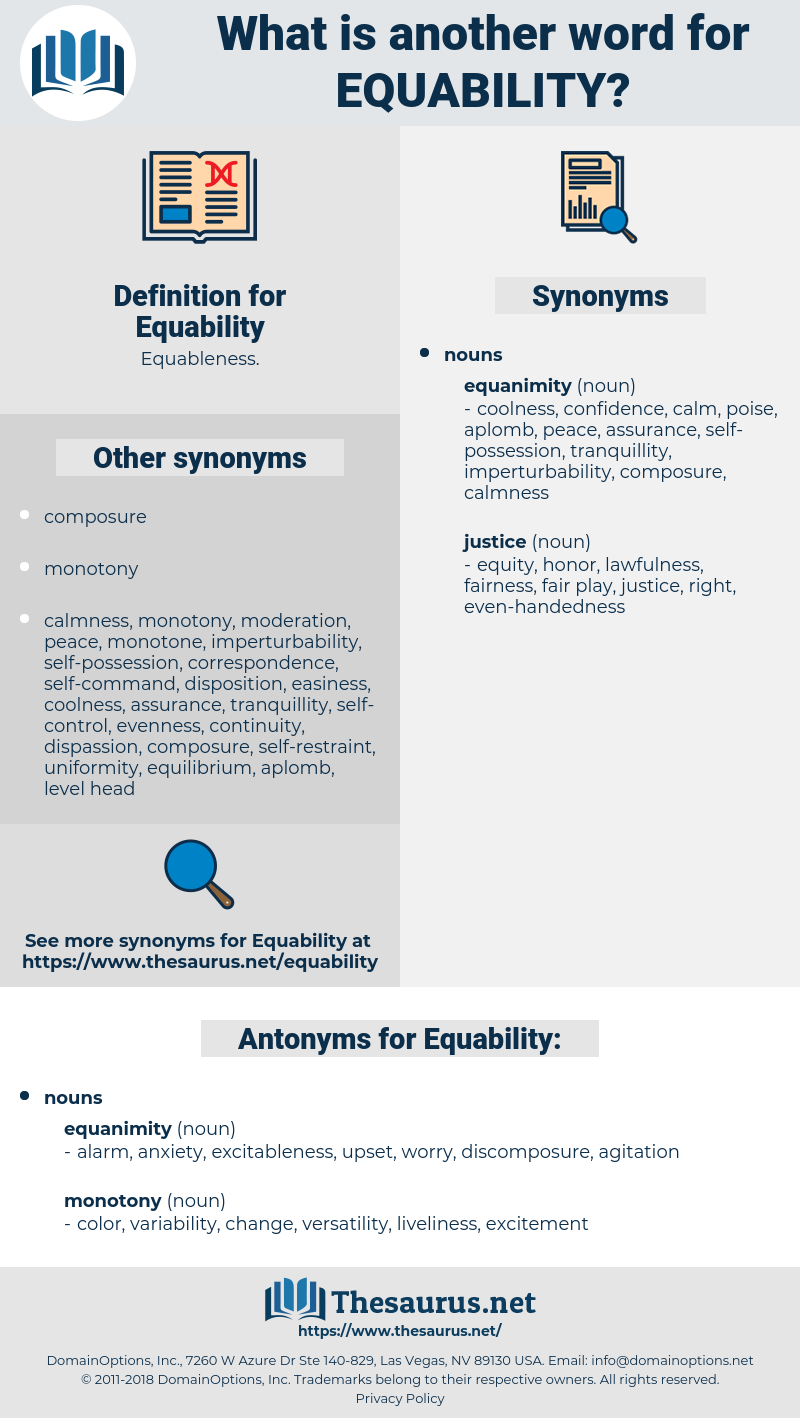 Equability, synonym Equability, another word for Equability, words like Equability, thesaurus Equability