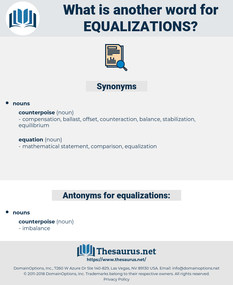equalizations, synonym equalizations, another word for equalizations, words like equalizations, thesaurus equalizations