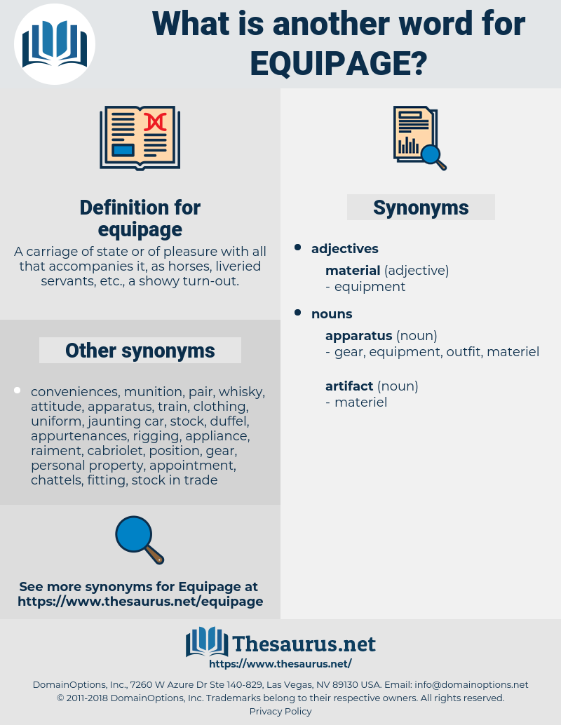 equipage, synonym equipage, another word for equipage, words like equipage, thesaurus equipage