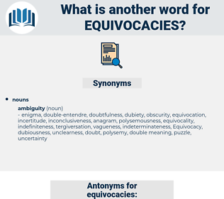 equivocacies, synonym equivocacies, another word for equivocacies, words like equivocacies, thesaurus equivocacies