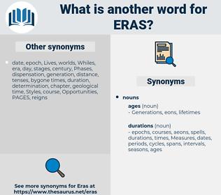 Eras, synonym Eras, another word for Eras, words like Eras, thesaurus Eras
