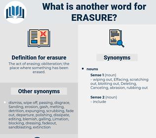 erasure, synonym erasure, another word for erasure, words like erasure, thesaurus erasure